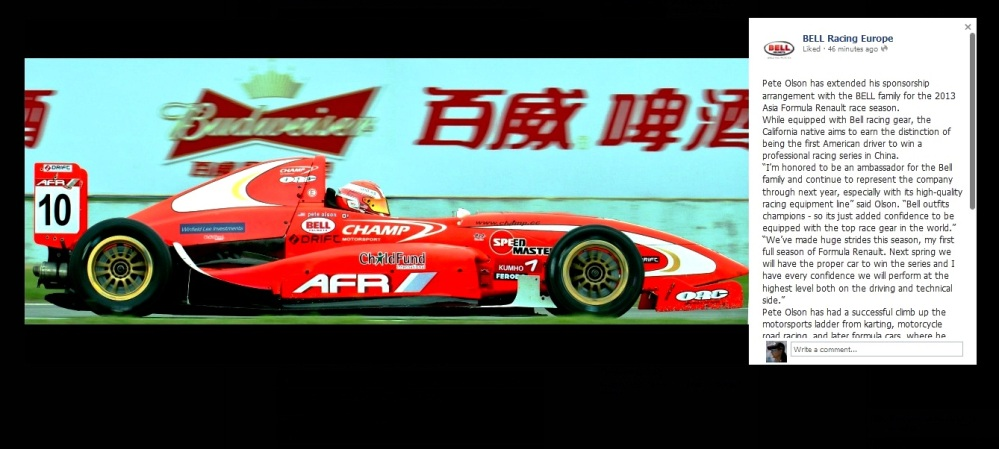 Pete Olson BELL helmets Asia Formula Renault ZIC