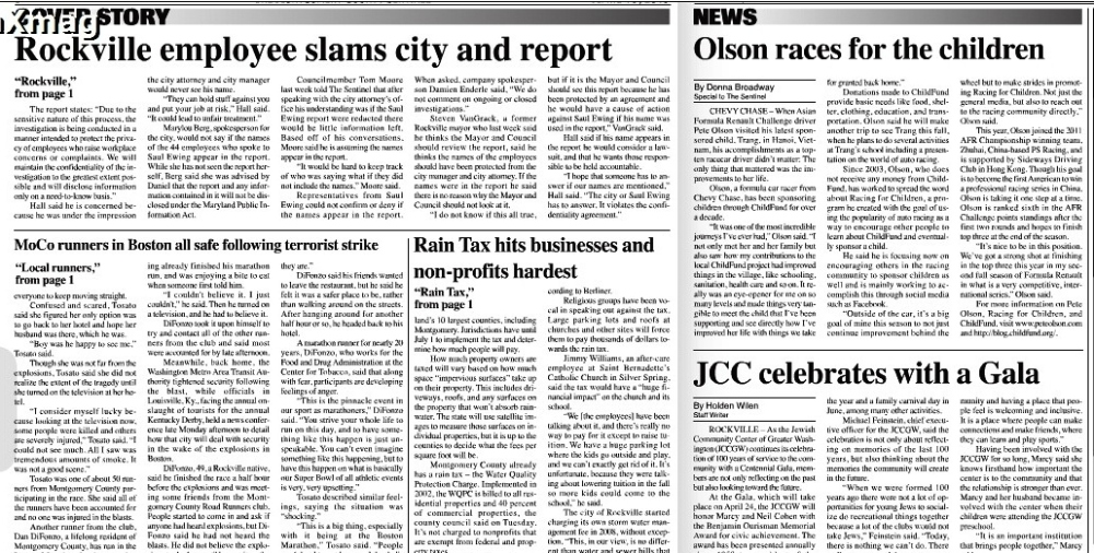 Maryland Sentinel Article - Racing for Children with Pete Olson - 18 April, 2013
