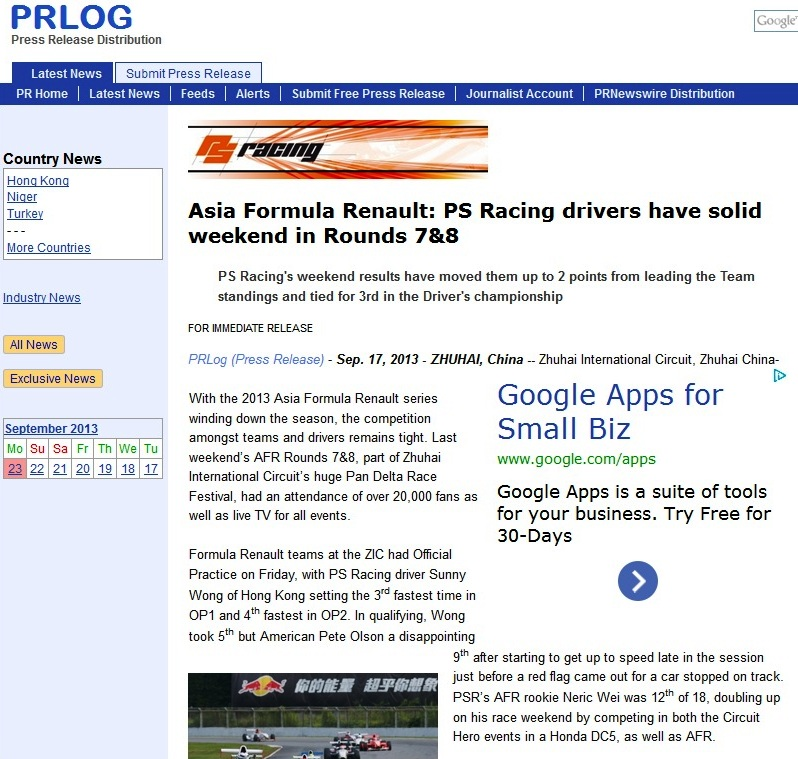 Asia Formula Renault Rounds 7&8 - click on photo for full article